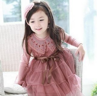 Girls Kids Toddlers Party Long Sleeve Tulle Dress Lace Collars Age 2 7Y Clothing