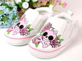 New Toddler Baby Girl Pink Skull Crib Shoes Size 4