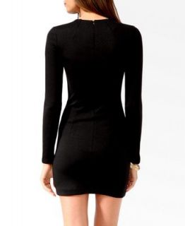 New Black White Elegant Women Long Sleeve Slim Cut Block Stretch Dress D39