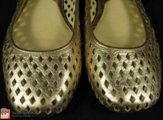 Michael Kors Leather Gold Metallic Cut Out Ballet Flats Dress Shoes Sz 6