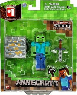 Minecraft Core Player Overworld Zombie Mini Figure w Sword Accessory New SEALED
