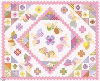 Northcott Fabric Scrappy Happy Baby Girl Panel Yard
