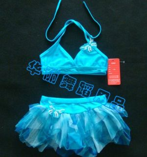 New Blue Girls Swimsuit Leotard Skirt Dance Dress Swimwear Sz 7 8