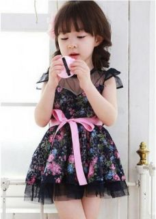 Girls Kids Pretty Baby Party Dress with Flower Dot Princess Tutu Mini Dress 2 7Y