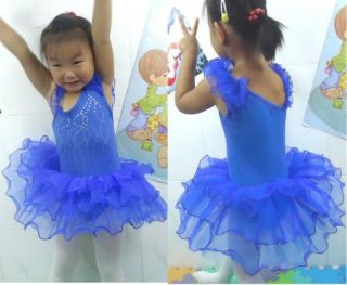 NWT3COLOR Girl Birthday Party Leotard Ballet Tutu Dance Skate Skirt Dress Sz3 9Y