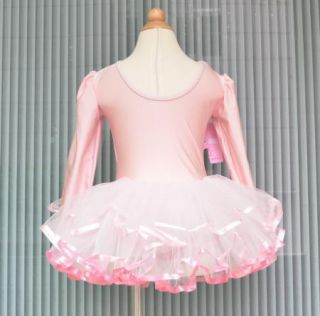 Girls Ballet Tutu Dance Costume Long Sleeve Leotard Dress 2 7Y Party Skirt