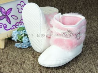 A268 New Baby Toddler Girl White Boots Shoes Size 2 3 4