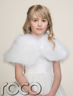 Girls White Bolero Fluffy Feather Diamante Communion Bridesmaid Wedding Boleros