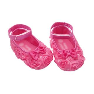 Baby Toddler Newborn Girls Hot Pink Flowers Bow Mary Jane Toddler Shoes 2 3 4
