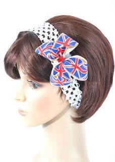 Women Girl Baby Union Jack Hair Bow Hairband Grosgrain Bow on Clip Hairband