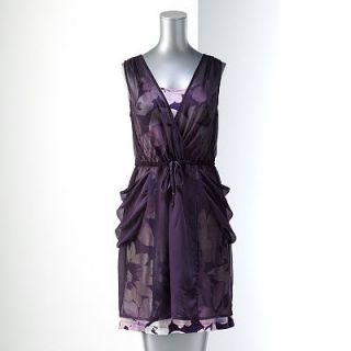 NWT Simply Vera Vera Wang Lightweight Chiffon Overlay Floral Slip Dress Set