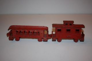Antique Cast Iron Train Cars Passenger Caboose Red 403