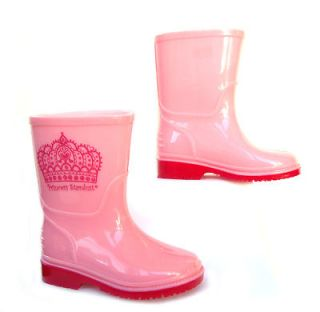 NEW Girls Infants Toddlers PRINCESS Wellies Rain Boots Size 4 5 6 7 8 9 10 11 12