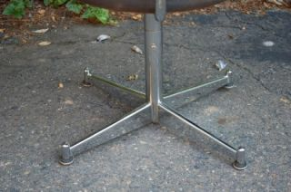 Vtg Mid Century Modern Sleek Chrome Swivel Desk Office Chair Retro Industrial