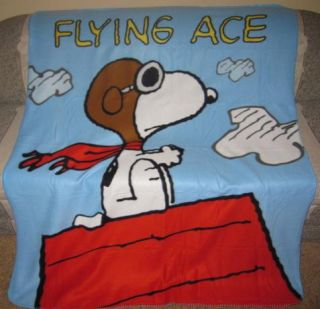 New Snoopy Flying Ace Fleece Blanket Peanuts Kids Gift