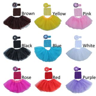 Baby Kids Girl Dancewear Cute Chiffon Tutu Headband Full Pettiskirt Princess Ski