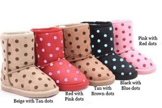New Boy Girl Winter UGG Style Fur Lined Dotted Boots