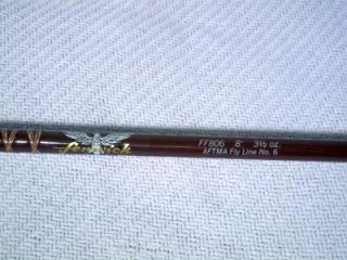 Vintage Fenwick FF806 Fiberglass 8' Fly Rod 2 PC w Tube Sock 3 1 2oz No 6 EXC