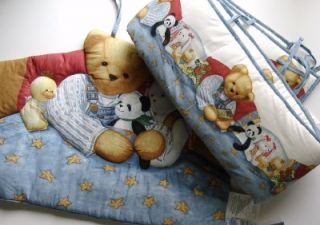 Blue Jean Teddy Bear Baby Boy Crib Set Bumper Headpiece