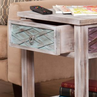 "New 23 75""H White Washed Weathered End Table Lime Purple Peach Aqua Hues Storage"