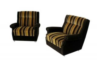 Pair of Mid Century Modern Art Deco Style Club Lounge Chairs