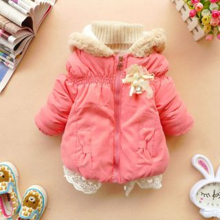Hot Baby Girls Bowknot Clothes Kid Winter Warm Jacket Gown Clothing Outwear Coat