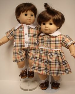 Matching Doll Clothes Plaid Boy Romper Girl Dress for Bitty Baby Twins Debs