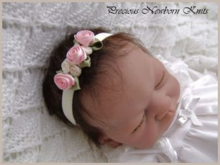 Pretty Rose Headband 4 Baby Girl Reborn OOAK Doll