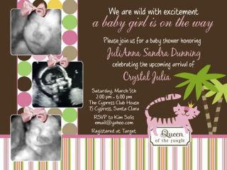 Queen of The Jungle Baby Shower Invitation Decoration Party Supplies Sonogram X2