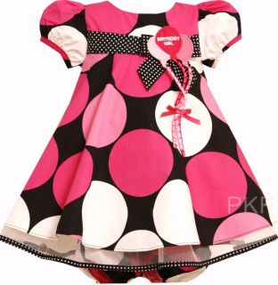 "New Baby Girls ""Pink Black Balloon"" Size 18M Birthday Dress Clothes"