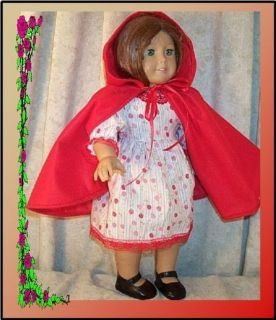 "Doll Clothes Fit American Girl 18""in Little Red Riding Hood Costume Dress Cape"