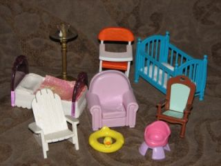 1990s Fisher Price Loving Family Doll House Furniture Baby High Chair Crib Lamp