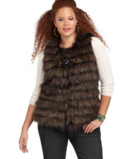 Baby Phat New Metropolitan Brown Faux Fur Toggle Closure Outerwear Vest Plus 2X