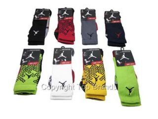 1 Pair Nike Jordan Gameday Mens Crew Socks Elite Dri Fit Black Green White Gray