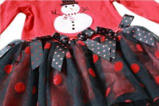 Christmas Snowman Girl Baby Red Top Tutu Dress Stripe Leggings 2pcs Outfit 3M 6Y