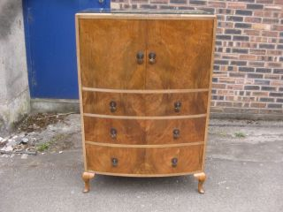 Highly Ornate Art Deco Figured Walnut Bow Front Tallboy Chest Circa 1930