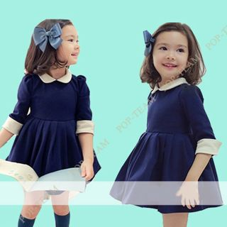Girls Kids Dress Top Skirt Long Sleeve 2 7Y Baby Party 1pcs Clothes Lovely FT116