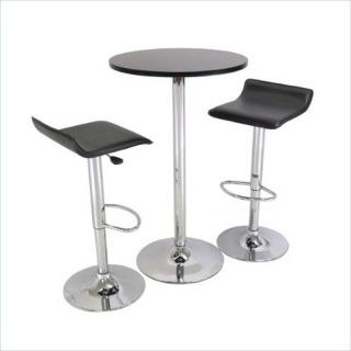 Winsome Spectrum Adjustable Air Lift Black Set of 2 Bar Stool