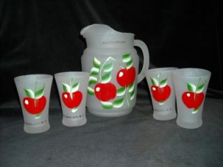 Anchor Hocking Fire King Frosted Pitcher 4 Glasses