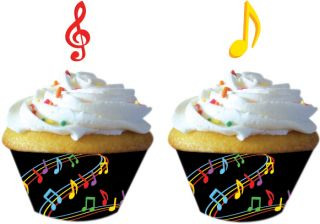 Dancing Music Notes Cupcake Wrappers w Picks 12 Birthday Dance Party Supply