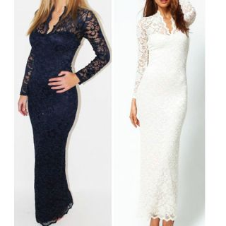 Sexy Maxi Dress Women V Neck Lace Full Length Gown Cocktail Party Dress Fashion
