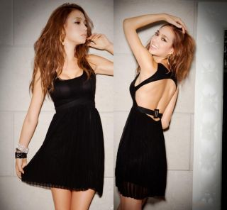 Sexy Open Back Little Black Dress Halter Ruffle Chiffon Cocktail Party Dresses