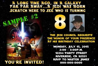 Star Wars Lego Birthday Party Invitations Scratch Off Fast and