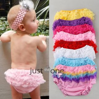 Cute Baby Girls Pettiskirt Ruffle Panties Briefs Bloomer Diaper Cover Sz s 6 24M