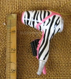 Zebra Blow Dryer Pink Round Brush Hair Stylist Beautician Beauty Shop Ornament