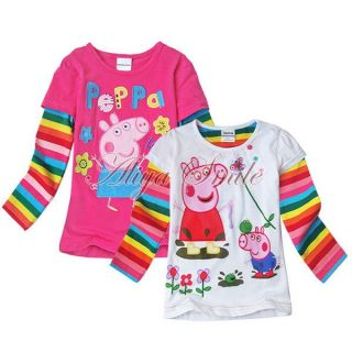 Peppa Pig Baby Girl Top T Shirt Toddler Kid Rainbow Stripe Sleeve Clothing 12M 6