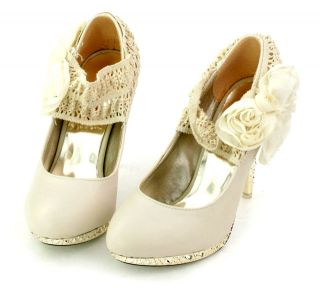 Ivory Lace Flowers Ankle Knot High Heels Platform Bridesmaid Wedding Shoes