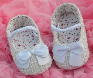 White Bow Infant Toddler Baby Girl Crib Mary Jane Shoes 2 3 4