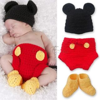 Mickey Mouse Costume Baby Boys 6 12 Months Kids Crochet Knit Outfit Photo Props