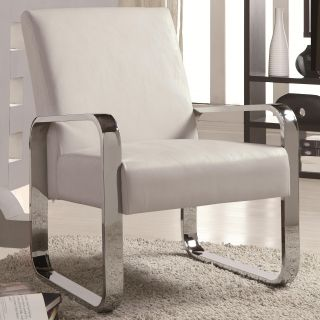 Modern Accent Leisure Chair with Metal Arm Design in Black Red White by Cozy™